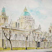 Belfast City Hall - Watercolour and ink on paper