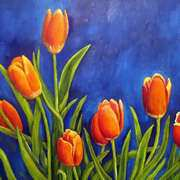 Irish Art, Orange Tulips,