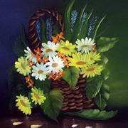 Irish Art, Basket of Daisies,