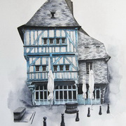 Art 'Dinan, Brittany, Pen, ink, watercolour'