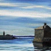 Irish art. East Pier Evening, artist Derek Lyons, Dublin