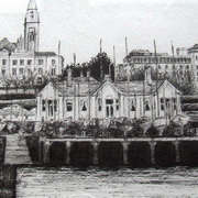 Irish art. East Pier View, artist Derek Lyons, Dublin