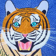Roaring Tiger with Blue Background