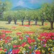 Irish Art, Poppy Landscape,