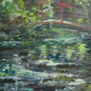 Pond in shade of acid green