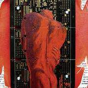 Alex, PCB, Acrylic, Ripped Canvas