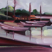 Irish Art, Boats Wexford Bridge,