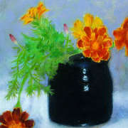 Irish Art, French Marigolds and Ceramic,