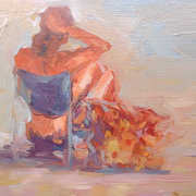 Woman Sitting On a Low Chair On a Beach