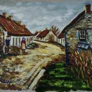 Daily Life in Old Glynn Village, County Antrim, painted from a vintage postcard