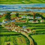 Old Glynn from the Brae, painted from an 1880 photograph by Robert French, courtesy of the National Library of Ireland, original painting for Larne Lamppost Banner project