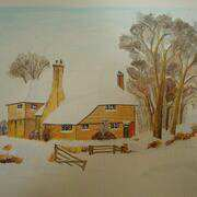 fancy barn in winter