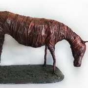 horse grazing, wire framework, clay, material