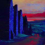 Irish art. Famine Cottages, artist Michael Thatcher, Offaly