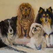 Irish Art, 4 dogs,