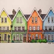 Coloured Houses, Whitehead, Watercolour