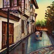 Art 'Morning stroll in Kaleici Old Town Antalya Turkey'