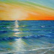 Irish art. Brilliant Sunset, artist Pauline McCarville, Dublin