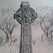 Irish art. Celtic Cross, artist Pauline McCarville, Dublin