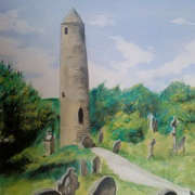 Irish art. Round Tower, artist Pauline McCarville, Dublin