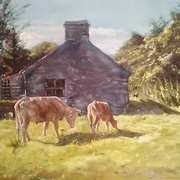 Art 'Stone Shed and Cattle'