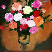 Irish art. Vase Of Roses, artist Roberto Edmanson-Harrison, Galway and France