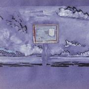Panel In A Blue, Purple Landscape