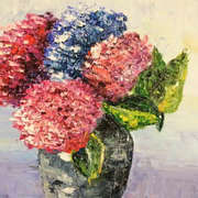 Irish Art, Vase of Hydrangeas,