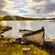 Art 'Lone Boat on Lough Conn'