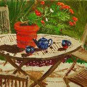 Summer Table, Acrylic on canvas, 36x26cm by Francis McShane