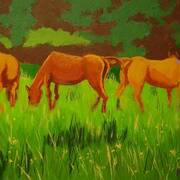 Horses 1, Acrylic on canvas, 41x31 by Francis McShane