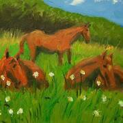 Horses 2, Oil on canvas, 25x20cm by Francis McShane