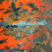 Copter and Crows, Oil on Board, 61x40 cm by Francis McShane