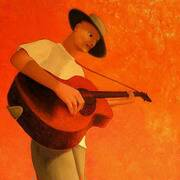 While my guitar gently weeps, Limited edition signed giclee print, 100cm x 60cm by Frank O'Dea