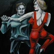 TANGO LESSON, Oil On Canvas, 40 x 50 cm by Joanna Mialkowska