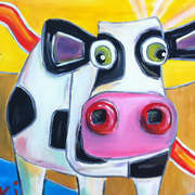 Sunny Cow, Acrylic on canvas, 40 x 40cm by Kiki aka Vicious Cow