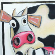 Portrait of the Bovine as a Young Cow, Acrylic on canvas, 50 x 50cm by Kiki aka Vicious Cow