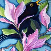 Blackbirds in the Magnolia, Gouache, 40cm x 50cm by Liza Kavanagh