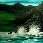 Where the Mourne Mountains sweep down to the sea, Oil on board, 100 x 80cm by Maurice Noble