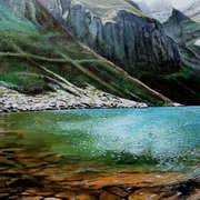 Light and Shade on Lake Coumshingaun,Acrylic on canvas,40 x 30 cm