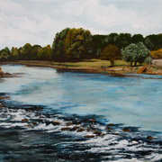View from the Old Bridge Carrick on Suir,acrylic on canvas,25 x 30 cm