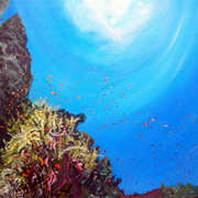 Fonds Marins Volcanic Base,oil on booard,36 x 28 ins