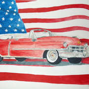 52 Cadillac with Am. Flag,  Watercolour