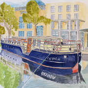 Canal Boat Dublin, Watercolour