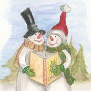 Christmas Carols,  Watercolour pencils