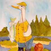 Ducky Fisherman, Watercolour