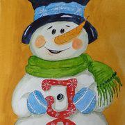 Joy Snowman, Acrylics