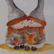snowmen singing,  watercolour