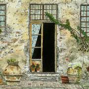 Tuscan Farmyard,watercolour,16 x 16 cm